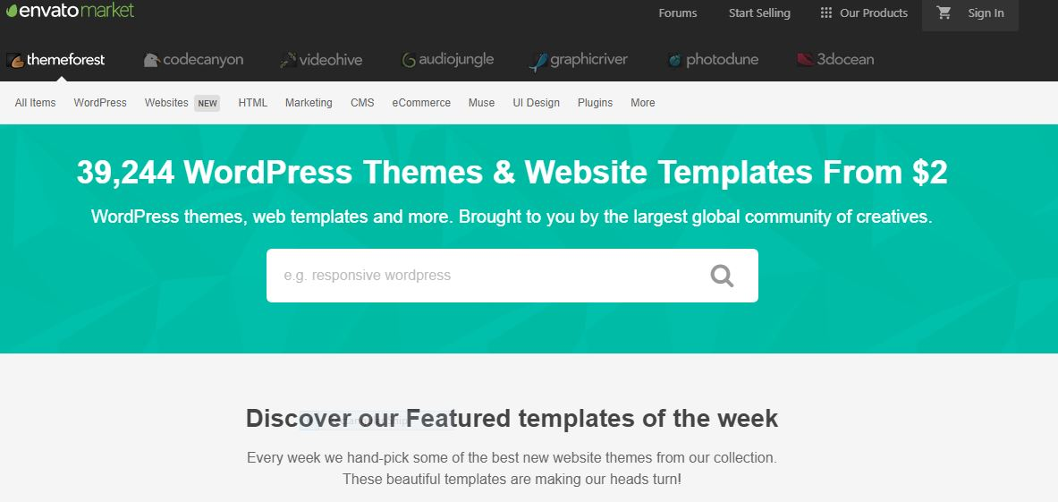 Themeforest wordpress theme site